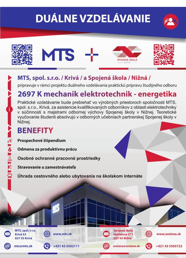 Duálne vzdelávanie v MTS v spolupráci so Spojenou školou Nižná